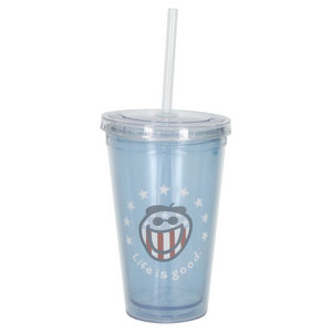 LIFE IS GOOD 18 OZ PATRIOTIC JAKE CUP AND STRAW SKY