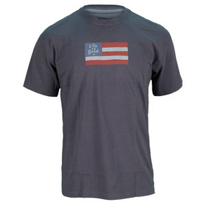 LIFE IS GOOD MENS FLAG CRUSHER TEE TRUE BLUE
