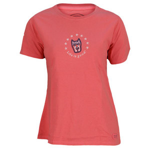 LIFE IS GOOD WOMENS ROCKET FLAG FACE TEE AZALEA PINK