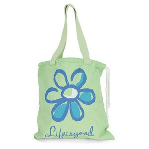LIFE IS GOOD DRAWSTRING REUSABLE TOTE DAISY APPLE GN