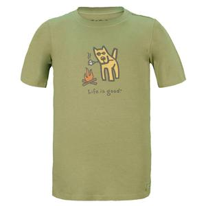 LIFE IS GOOD BOYS CAMP DOG CRUSHER TEE PALM GREEN