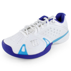 WILSON WOMENS RUSH PRO WHITE/INK/CYAN SHOES