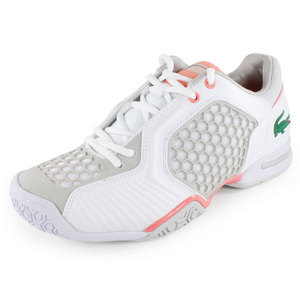 LACOSTE WOMENS REPEL DE TENNIS SHOES WH/LT PINK