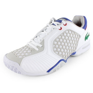 LACOSTE MENS REPEL DE TENNIS SHOES WHITE/BLUE