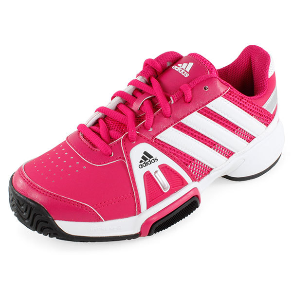 juniors adipower barricade team 3 tennis shoes pink and