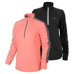 NIKE WOMENS RACER LS 1/2 ZIP RUNNING TOP