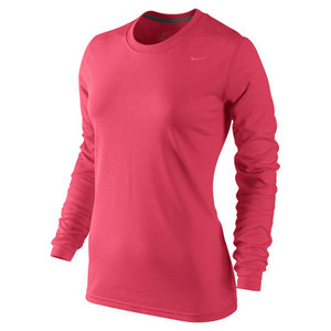 NIKE WOMENS REGULAR LS POLY LEGEND TEE RED