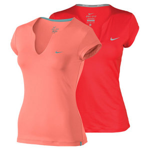 NIKE WOMENS PURE SHORT SLEEVE TENNIS TOP