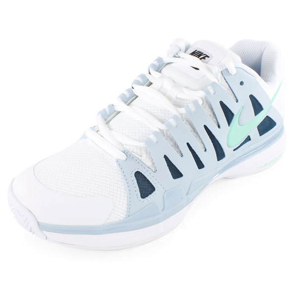Women`s Zoom Vapor 9 Tour Tennis Shoes White and Light Blue