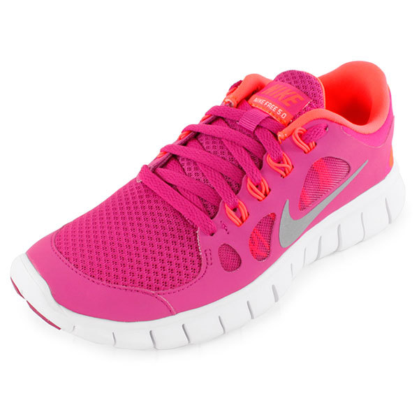 Girls` Free 5.0 Running Shoes Pink and Orange