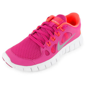 NIKE GIRLS` FREE 5.0 RUNNING SHOES PINK AND O