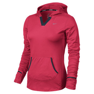 NIKE WOMENS ELEMENT RUNNING HOODIE RED