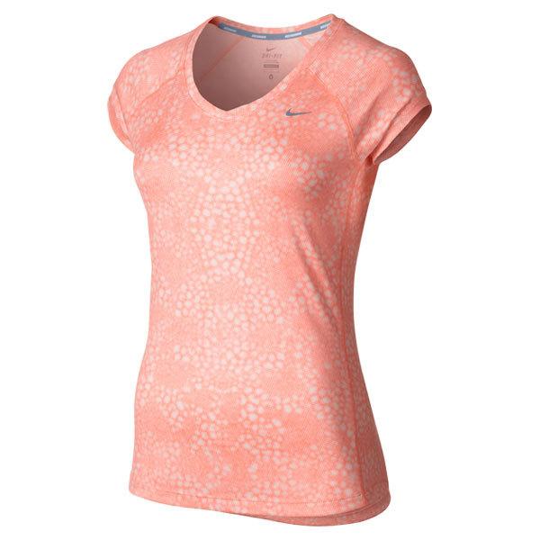 Women's Printed Miler V Neck Running Short Sleeve Top Atomic Pink