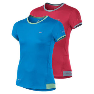 NIKE GIRLS MILER SHORT SLEEVE RUNNING CREW