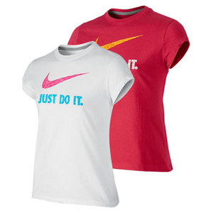 NIKE GIRLS JUST DO IT SWOOSH SHORT SLEEVE TEE