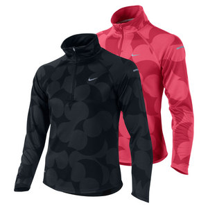 NIKE GIRLS ELEMENT JACQUARD HALF ZIP TOP