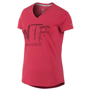 NIKE WOMENS WTF SS V NECK RUN TEE FUSION RED