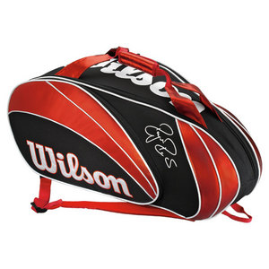 WILSON FEDERER 9 PACK TENNIS BAG RED/BLACK