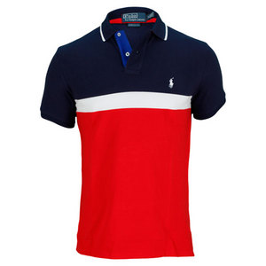 POLO RALPH LAUREN MENS BASIC MESH NOVELTY POLO BLUE/RED