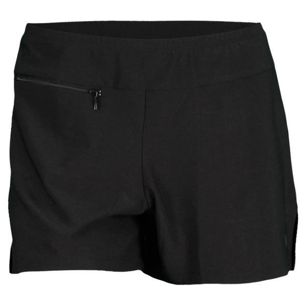 Women's Basic Slit Tennis Short Black And Red