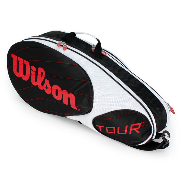Tour 6 Pack Tennis Bag Black White And Red