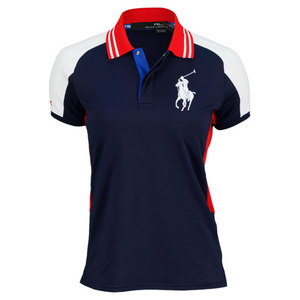 POLO RALPH LAUREN WOMENS BALL GIRL TENNIS POLO BLUE