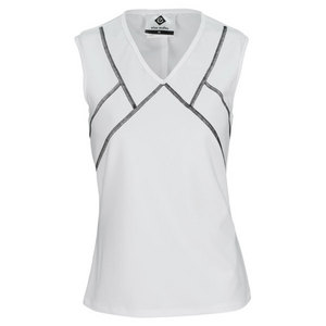 ELIZA AUDLEY WOMENS STITCH TENNIS TANK WHITE