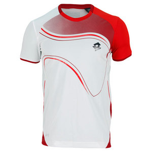 LOTTO MENS LED TENNIS TEE WH/RED