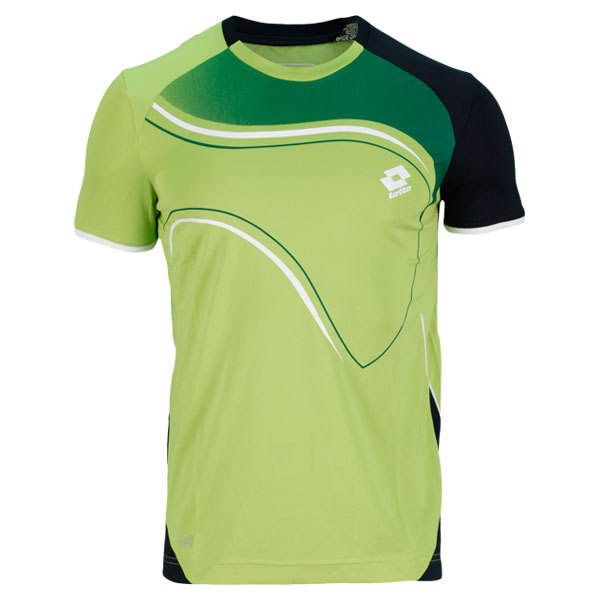 Men's Led Tennis Tee Green And Navy