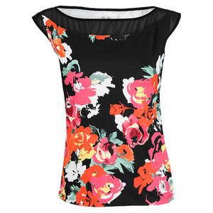 ELEVEN WOMENS POACHING TENNIS TOP ROSE PRINT