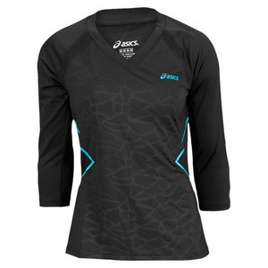 ASICS WOMENS BREAK 3/4 TENNIS TEE BLACK