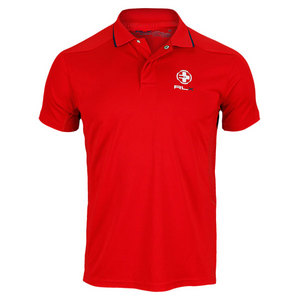 POLO RALPH LAUREN MENS MINI MOCK EYELET TENNIS POLO RED