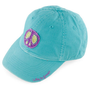 LIFE IS GOOD WOMEN`S PEACE TATTERED CHILL CAP BLUE