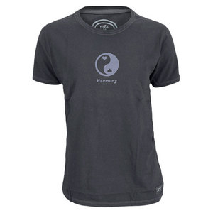 LIFE IS GOOD WOMENS YIN YANG HARMONY CRUSHER TEE BK