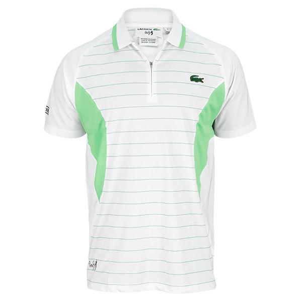 Men's Andy Roddick Geometric Stripe Tennis Polo White And Green