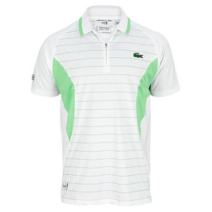 LACOSTE MENS ANDY RODDICK GEO STRIPE POLO WH