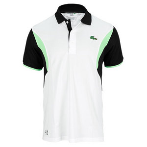 LACOSTE MENS ANDY RODDICK GEOMETRIC POLO WHITE