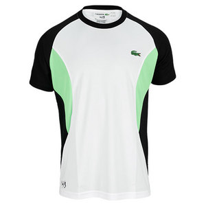 LACOSTE MENS ANDY RODDICK COLORBLOCK TEE WHITE