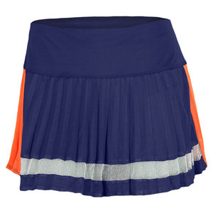 LUCKY IN LOVE WOMENS COLOR BLOCK PLEAT SKIRT NAVY