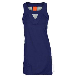 LUCKY IN LOVE WOMENS TUXEDO STRIPE TENNIS DRESS NAVY