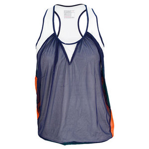 LUCKY IN LOVE WOMENS MESH LAYERED TENNIS TANK NAVY