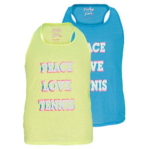 LUCKY IN LOVE GIRLS PEACE LOVE TENNIS SLUB TANK