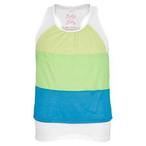 LUCKY IN LOVE GIRLS COLOR BLOCK SLUB TANK YL/GN/BL