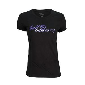 WILSON WOMENS BALL BUSTER TENNIS TEE BLACK