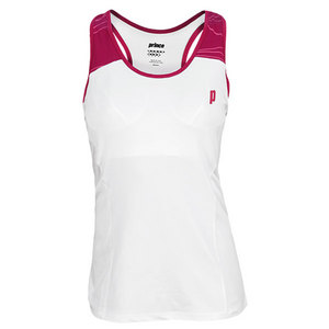 PRINCE WOMENS RACERBACK TENNIS TOP WHITE/BRY