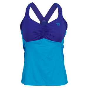 Women`s Get It Strappy Tennis Tank Cyan and Ink