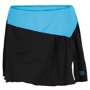 WILSON WOMENS GET IT FLOUNCE SKIRT BK/CYAN