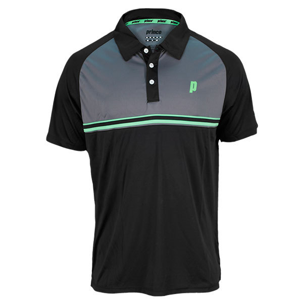 Men's Stripe Tennis Polo Black And Gray