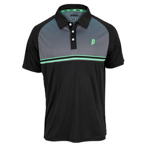 PRINCE MENS STRIPE TENNIS POLO BLACK AND GRAY