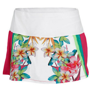 LUCKY IN LOVE WOMENS BOUQUET PRINT TENNIS SKIRT